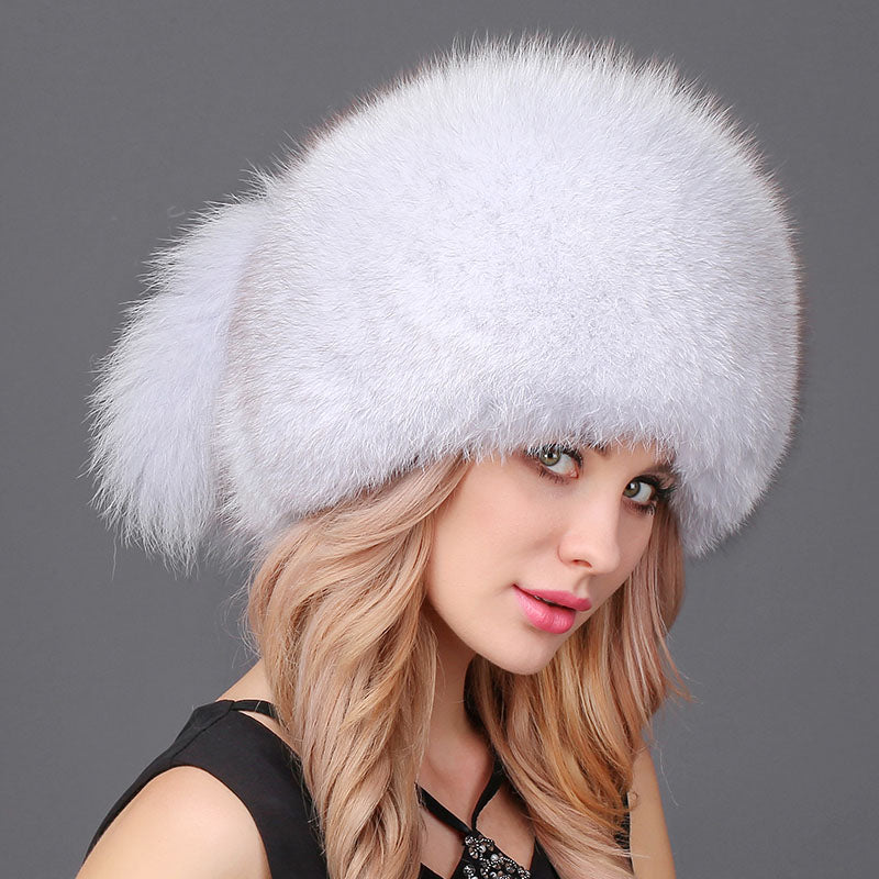 e4dcb83617a Fox Fur Headgear Russian Outdoor Girls Raccoon Fur Cap - Thick Chick  Treasures