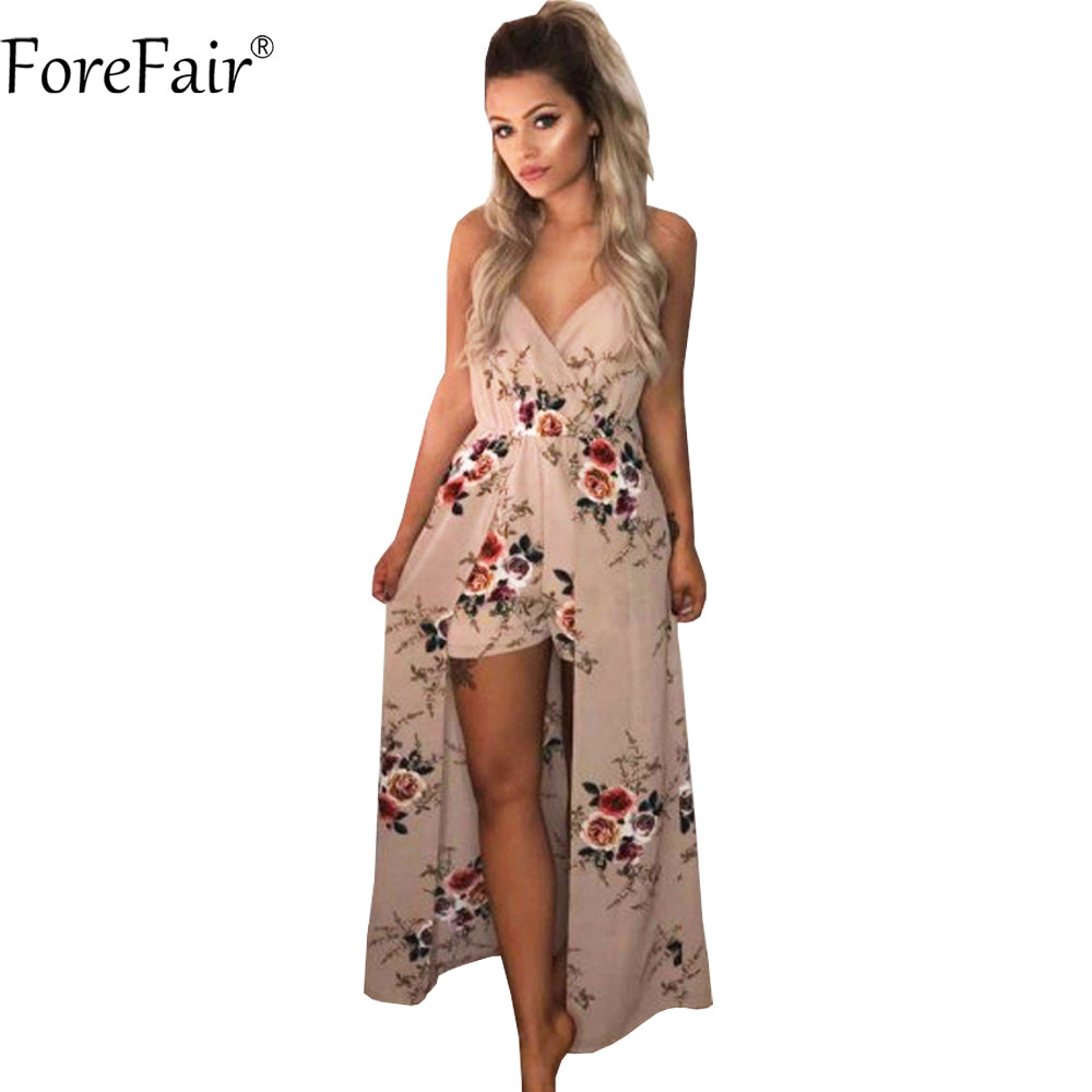 ee8a972801fe ForeFair Sexy V-neck Sling Maxi Romper Plus Size Blue Khaki Jumpsuit Summer  Boho Playsuit