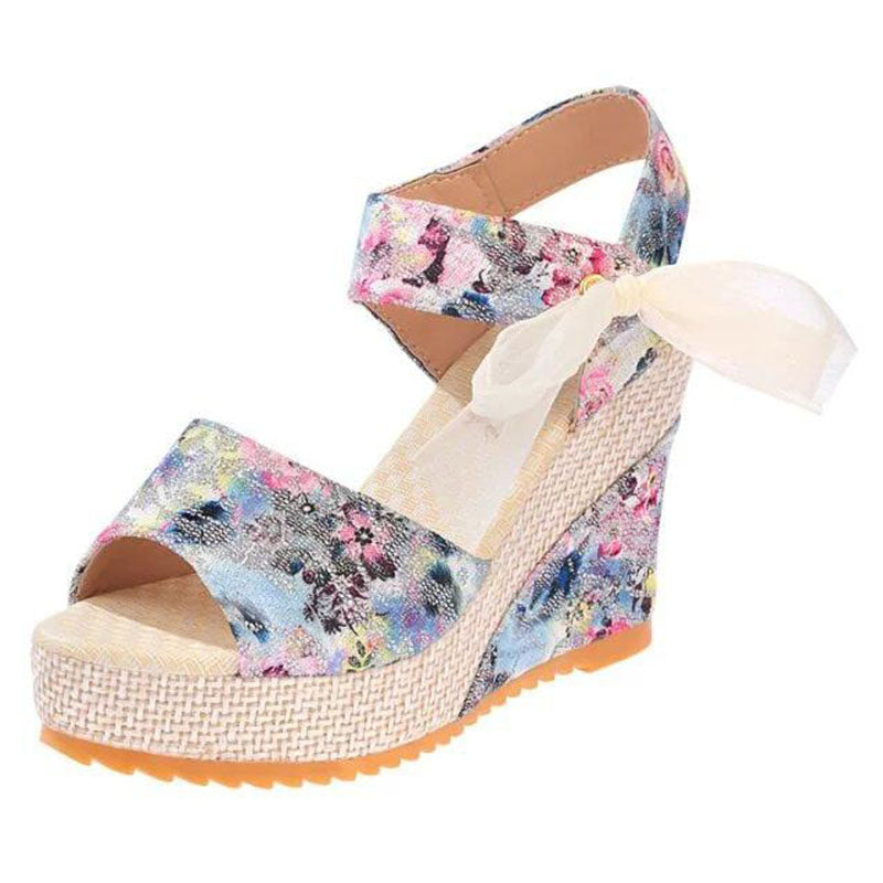 Floral Wedge Sandals Thick Chick Treasures