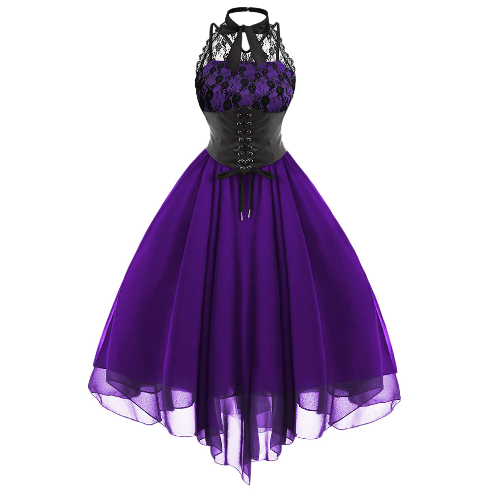 Hot Sale Sweetheart Corset Gothic Purple Wedding Dress: Gothic Cross Back Lace Panel Corset Dress* (S-2XL)