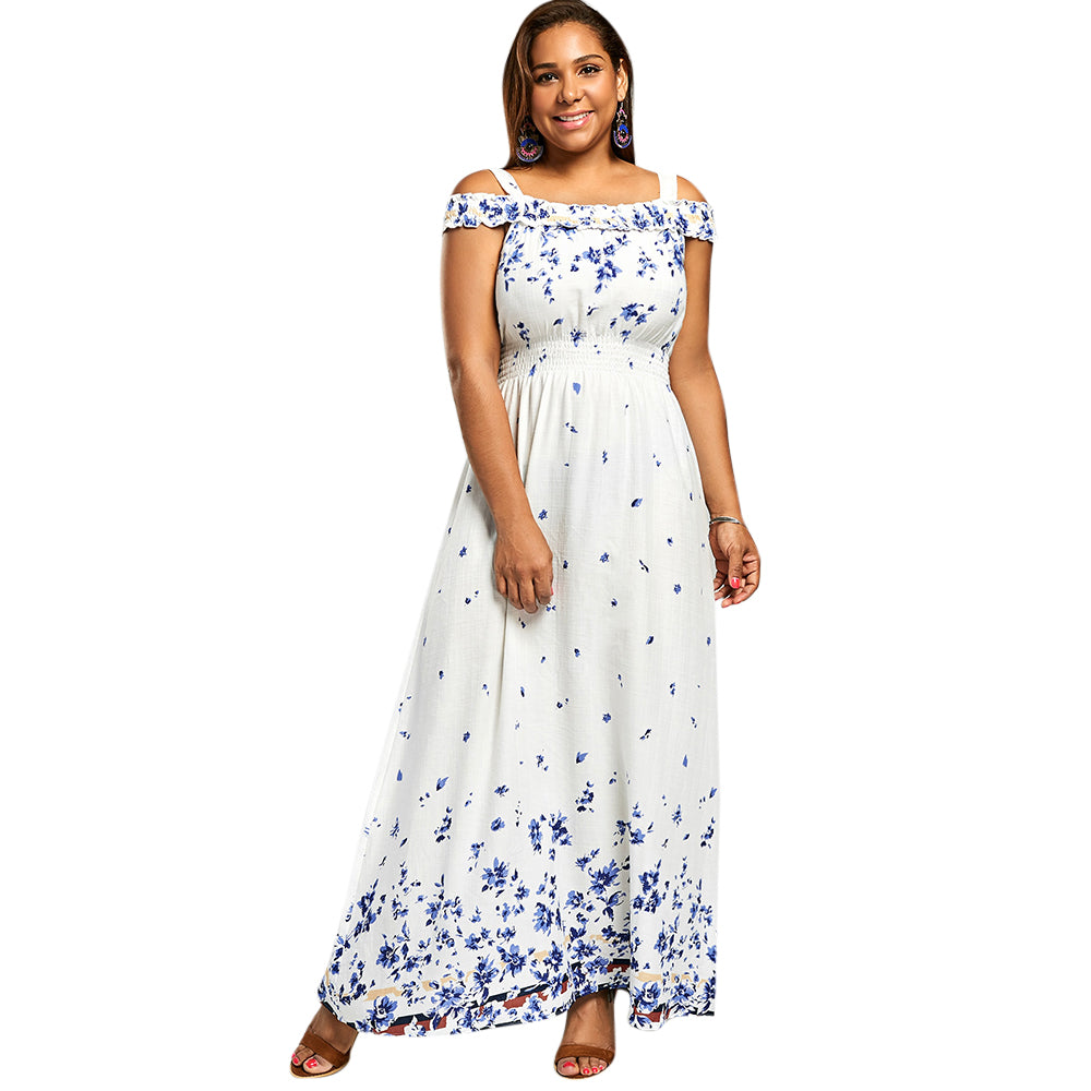 923a5baab2e5 Empire Waist Maxi Plus Size Floral Print Cold Shoulder Bohemian Dress - Thick  Chick Treasures