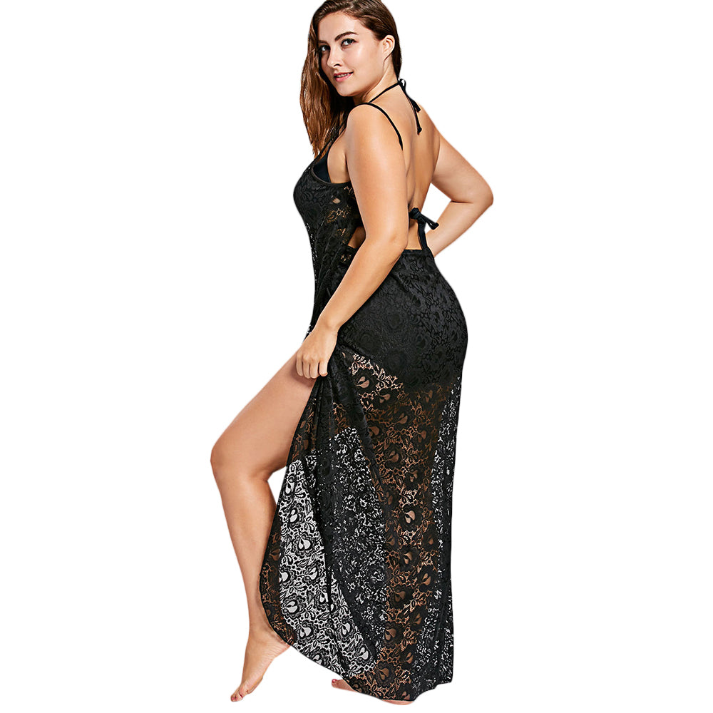 13a7e6d16c63 Gamiss Lace Spaghetti Straps Wrap Up Beach dress - Thick Chick Treasures