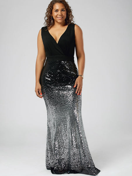 454f7d9c6df Plus Size Maxi Fishtail V Neck Sleeveless Sequin Dress – Thick Chick ...
