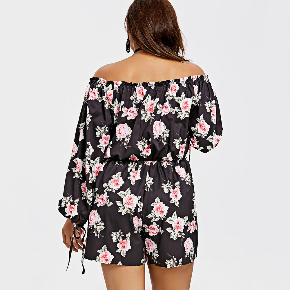 353ad91017f9 Floral Off The Shoulder Wide Leg Romper  (XL-3XL) – Thick Chick ...