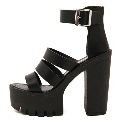 72d3f513a4d2 Open Toe Button Belt Thick Heel Wedges Platform Shoes – Thick Chick ...