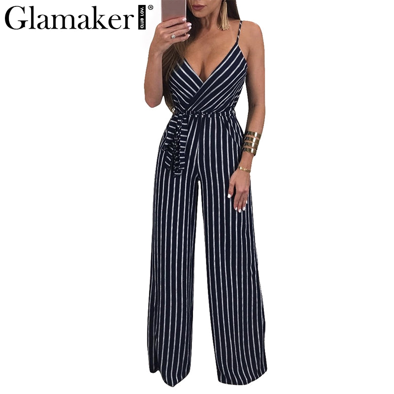 68c07f433bbe GLAMAKER Flower Print V-Neck Striped Jumpsuit – Thick Chick Treasures