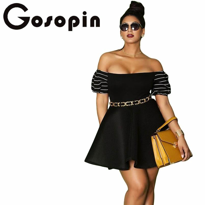 e37423b9b80 GOSOPIN Off Shoulder Pleated Mini Party Dress  (2XL-4XL) – Thick ...