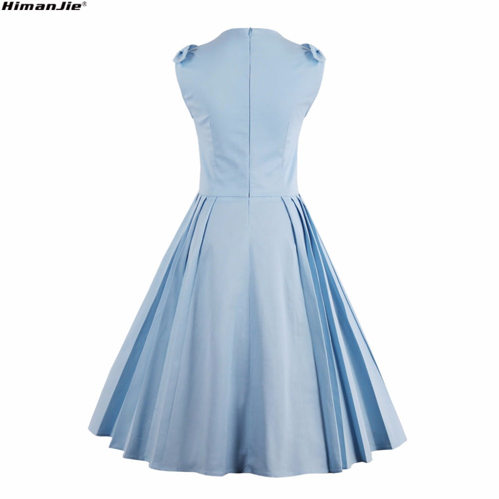 Light Blue Vintage Pleated Rockabilly Pin-up Dress* (S-4XL) – Thick ...