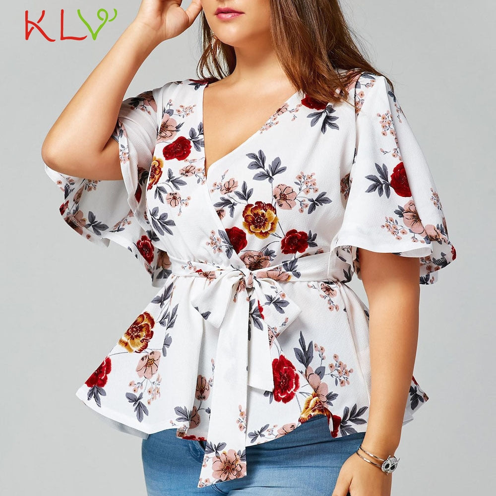 56551265c3f70 V Neck Floral Print Flare Sleeve Belted Surplice Peplum Top  (XL-5XL ...
