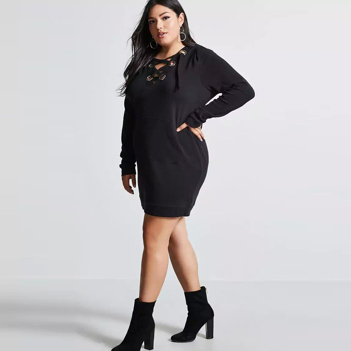 Kissmilk Plus Size Hollow Out Women Sweatshirt Dress Straight Solid Lace Up  Hoodied Large Size Female ae4b10482dd0