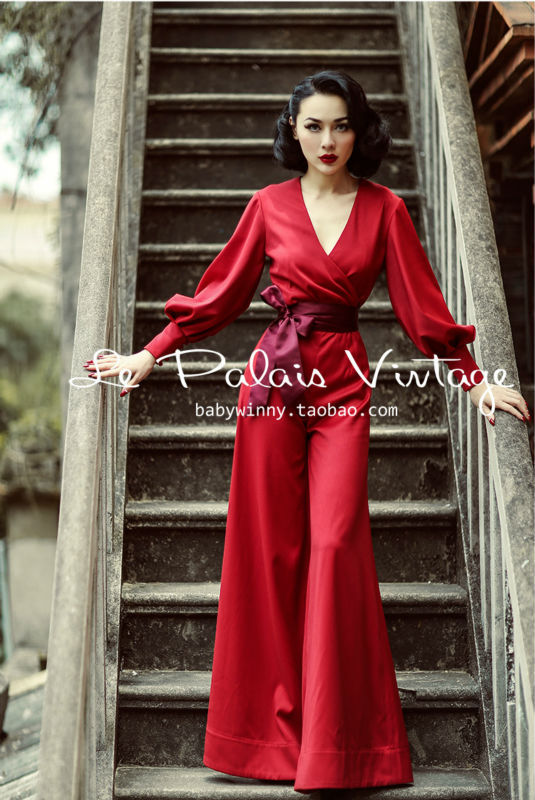 5c7dfdb49b7c LE PALAIS VINTAGE Winter Limited Edition Red Lantern Sleeve Jumpsuit ...