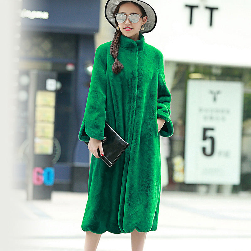 95622d3048 Long Faux Fur Solid Color Long Sleeve Stand Collar Loose Plus Size Coat