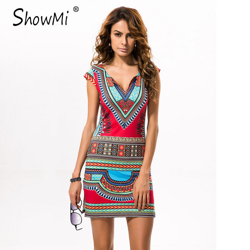 31610af24b9a Short V-neck Sexy African Dashiki Mini Dress – Thick Chick Treasures