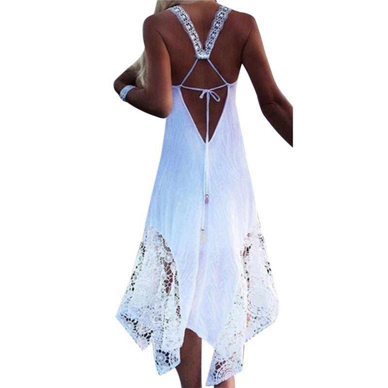 6387c70ec5 Long Irregular Hem Lace Tunic Style Bikini Beach Dress – Thick Chick ...