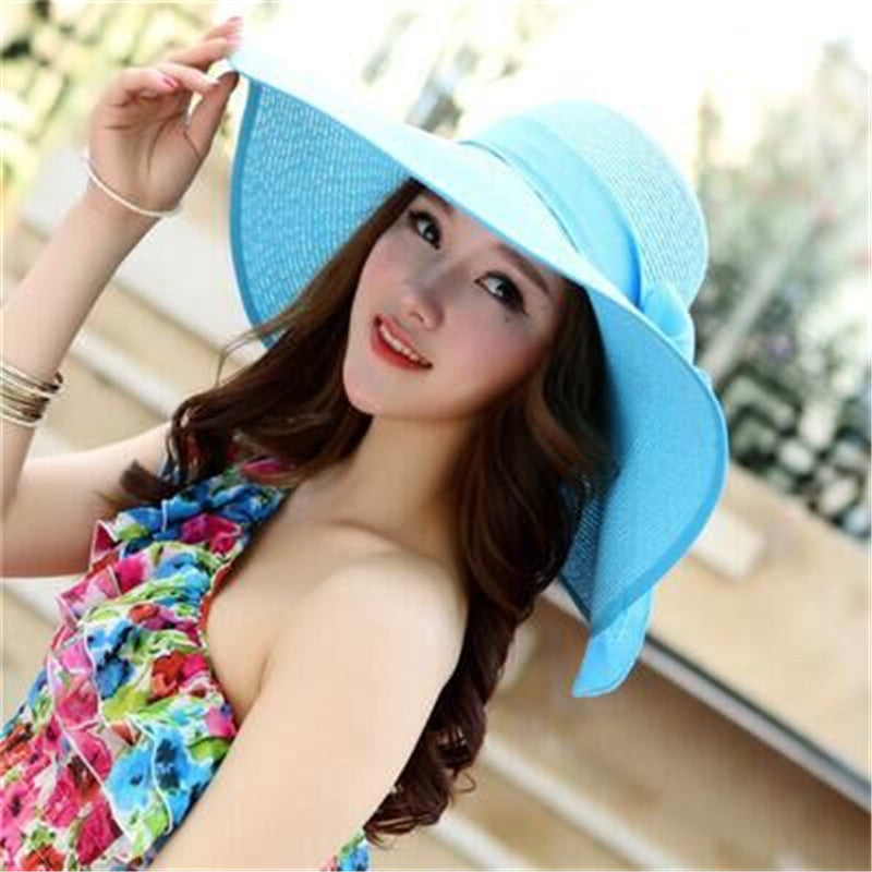 Wide Brim Summer Straw Floral Beach Hat with Self-Tie Bow – Thick ... b8c686355e48