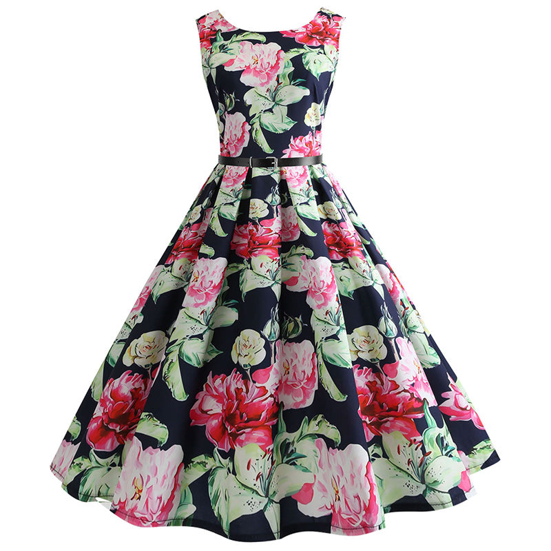 9c48a0c60 Rockabilly Retro Swing Floral Rose Pin-up Dress  (S-2XL) – Thick ...