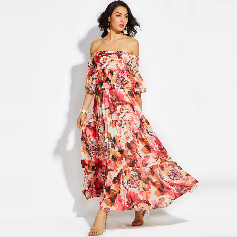 e6ed03eb5c Red Floral Off-Shoulder Ruffle Flare Sleeve Pleated Maxi Dress  (S ...