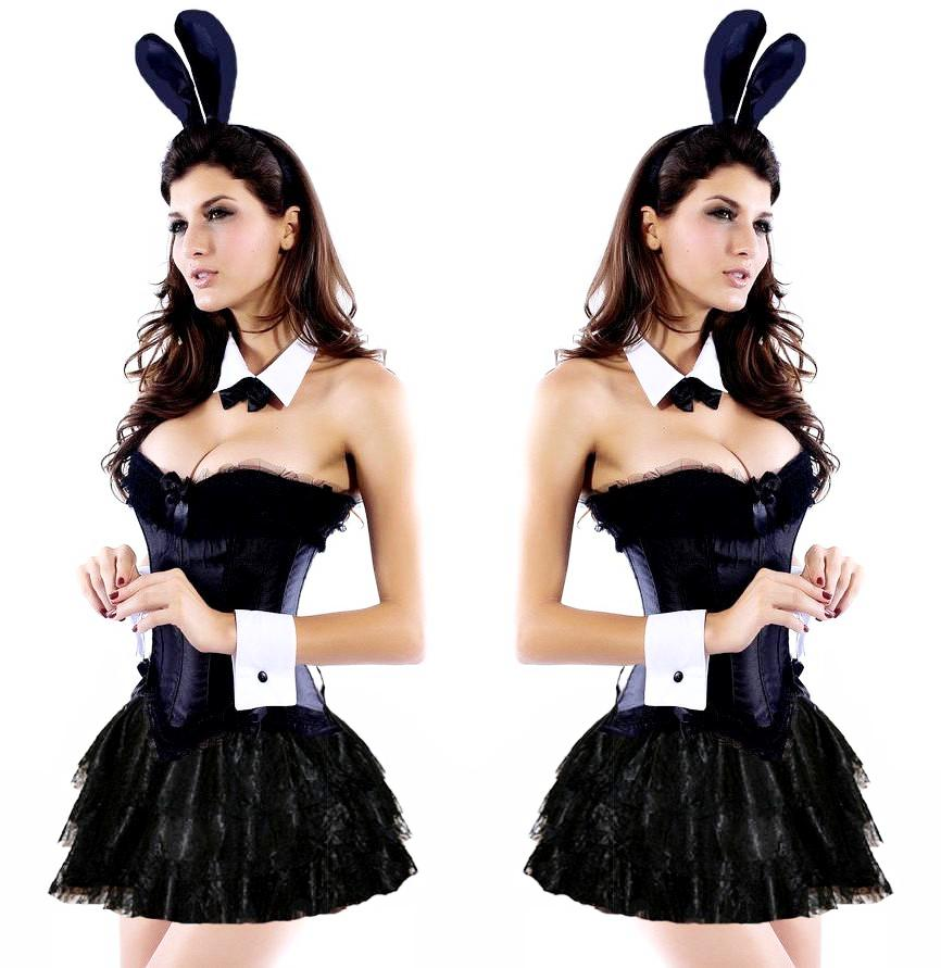 bc102b0a0a Black Bunny Rabbit Cosplay Corset Skirt Set  (S-2XL) – Thick Chick ...