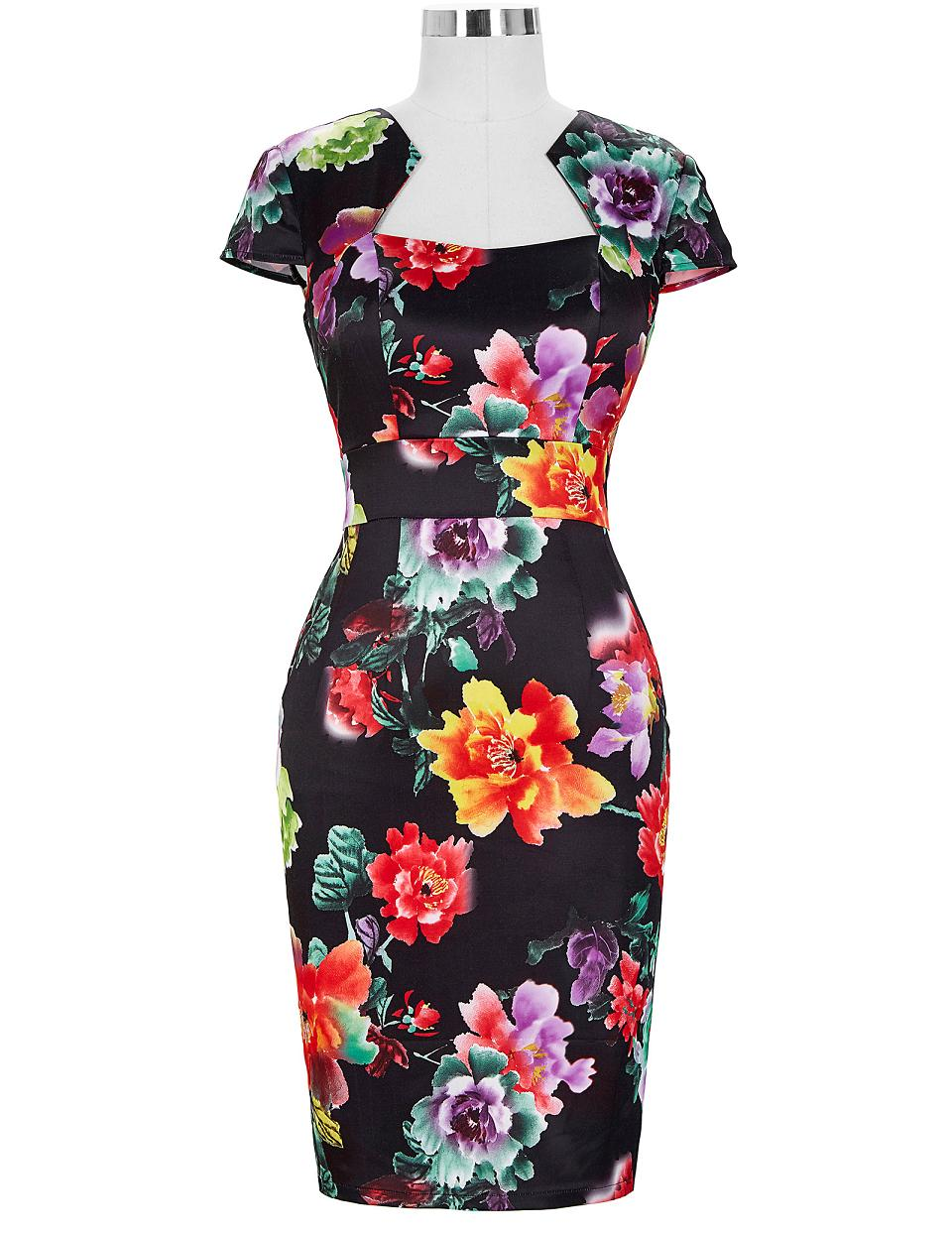 067db1b65dd Women Plus Size Pencil Dresses Rockabilly Clothing 2018 Floral Summer  Casual Party Office Dress Sexy 50s