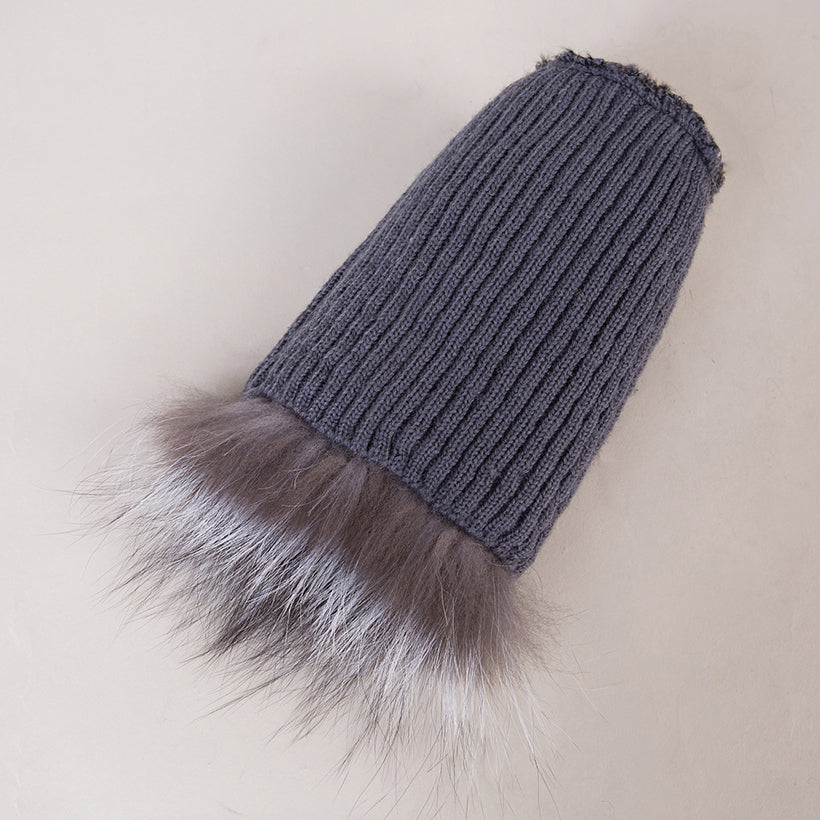 335af08c0583d Fox Fur Hat with Silver Fox Fur Pom Pom Ball - Thick Chick Treasures