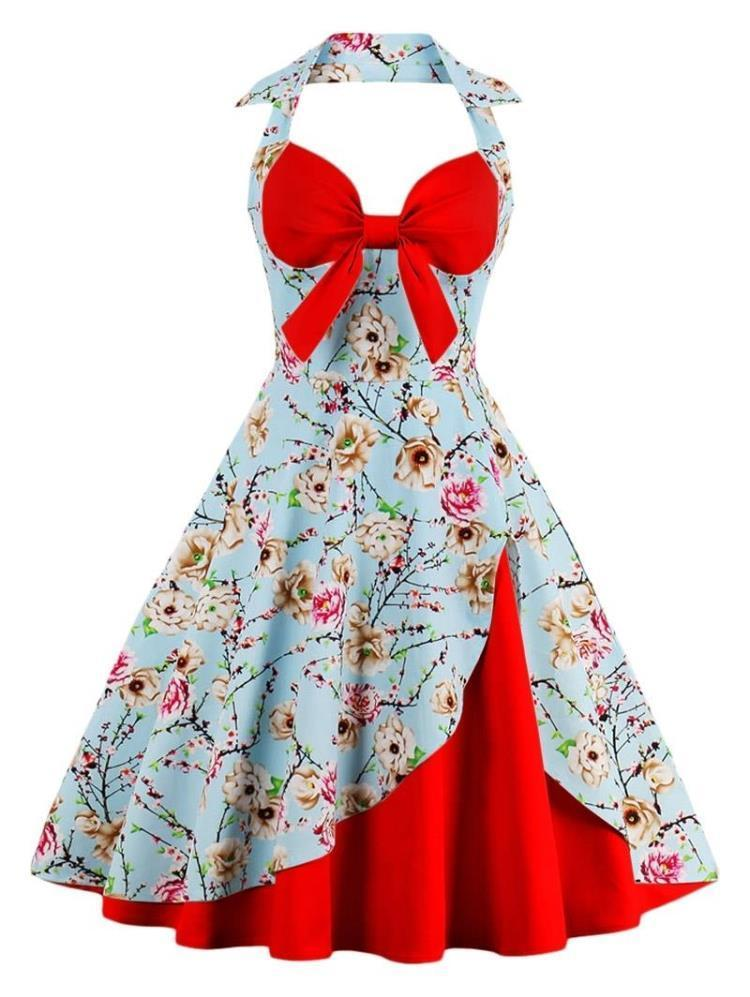 b9166294736 ZAFUL New Women Vintage Dress Big Size Ball Gown Floral Print Pin Up Summer  Dress 60s