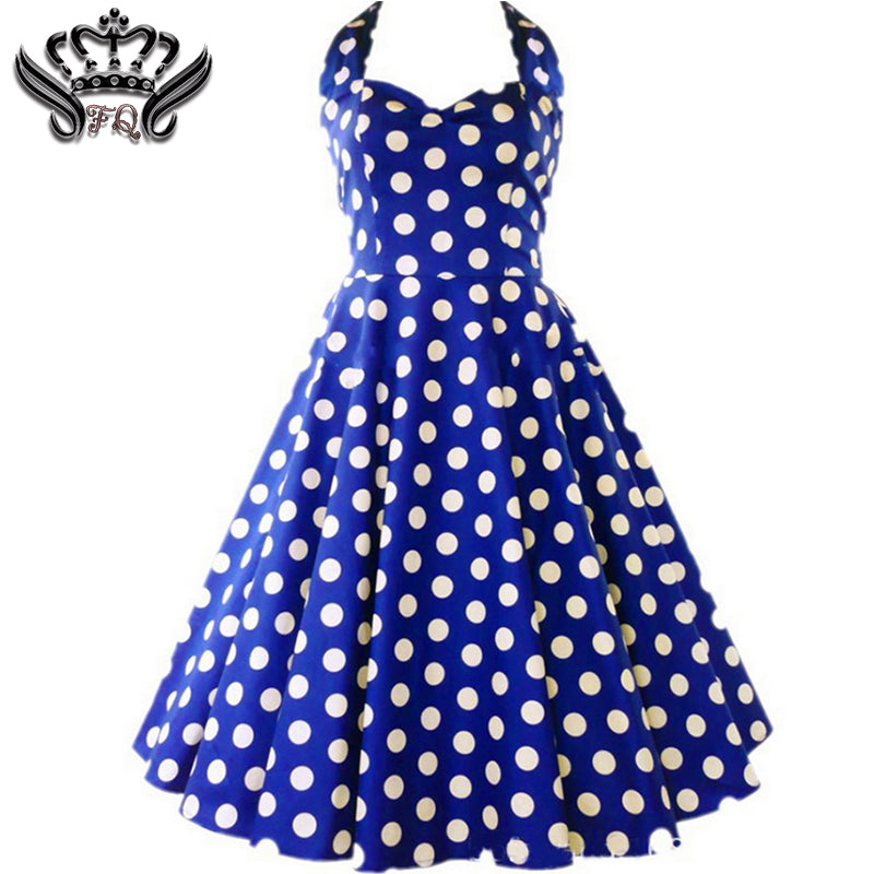 17e7dd2fff463 women summer vintage dress Audrey Hepburn rockabilly Halter Polka Dot Pinup  sleeveless dresses plus size women