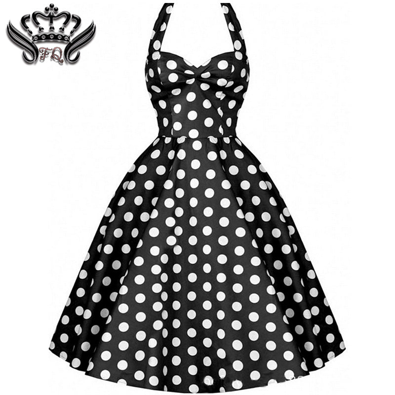 Rockabilly Halter Polka-dot Sleeveless Pin-up Dress* (S-2XL) – Thick ...