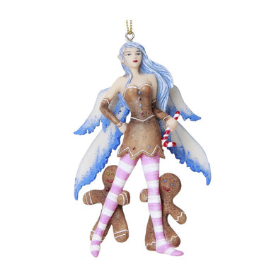 Blue Gingerbread Fairy Hanging Ornament by Amy Brown