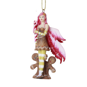 Pink Gingerbread Fairy Hanging Ornament by Amy Brown