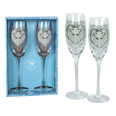 GIFT BOXED SET OF 2 CHAMPAGNE GLASSES by Anne Stokes