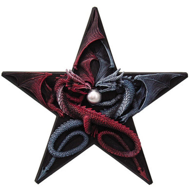Dragons Pentagram Wall Plaque by Anne Stokes