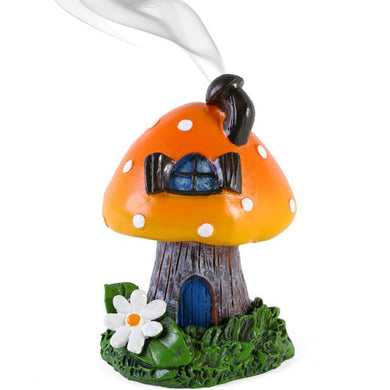 Orange Smoking Toadstool Incense Cone Holder by Lisa Parker