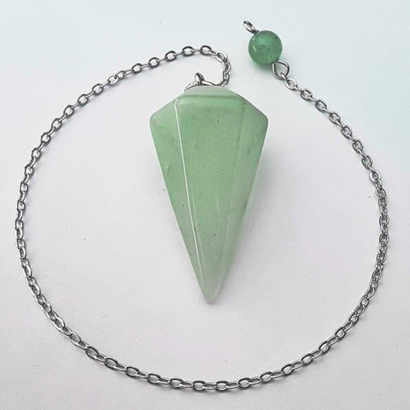 Green Aventurine Faceted Cone Pendulum