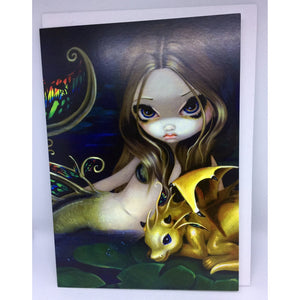 Mermaid with Golden Dragon Gift Card by Jasmine Becket-Griffith