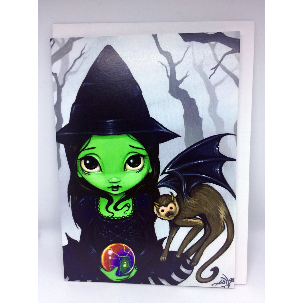 Wicked Witch and her Flying Monkey Card by Jasmine Becket-Griffith