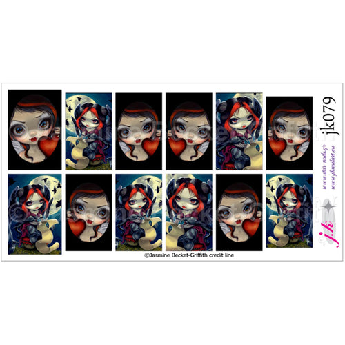 COMBINATION OF FACES OF FAERY 225 & ONCE UPON A MIDNIGHT DREARY BY JASMINE BECKET GRIFFITH Nail Decals