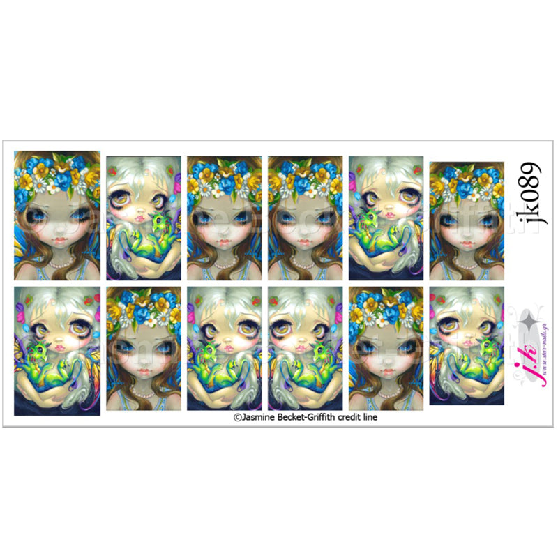 COMBINATION OF DARLING DRAGONLING IV & FACES OF FAERY 229 BY JASMINE BECKET GRIFFITH Nail Decals