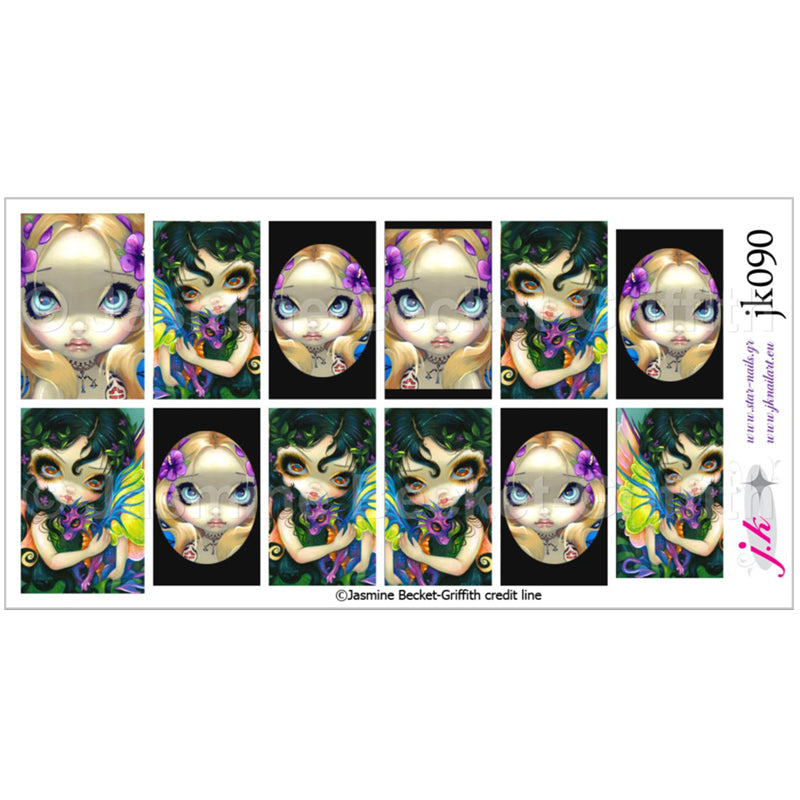 COMBINATION OF DARLING DRAGONLING V & FACES OF FAERY 133 BY JASMINE BECKET GRIFFITH Nail Decals