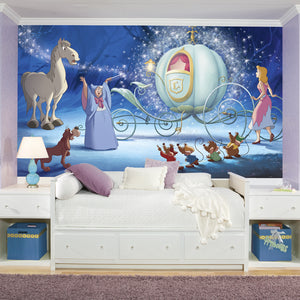 Disney Princess Cinderella Carriage Prepasted XL Sized Ultra-strippable Wallpaper Mural