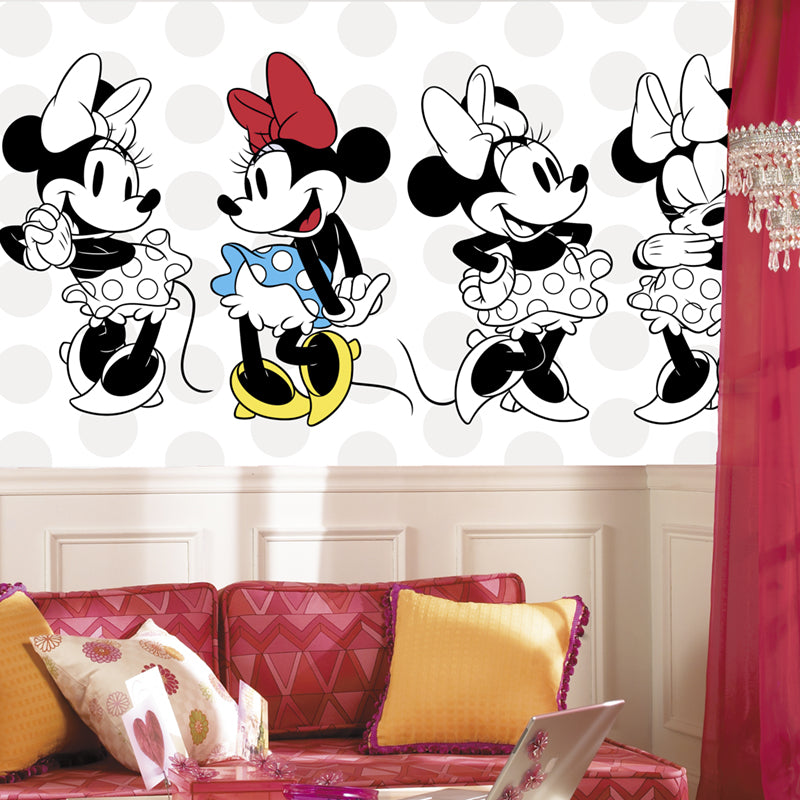Minnie Rocks the Dots Prepasted XL Sized Ultra-strippable Wallpaper Mural