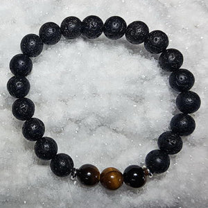 Tiger Eye & Lava Bracelet