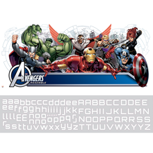 Avengers Assemble Headboard Wall Stickers with Personalised Name