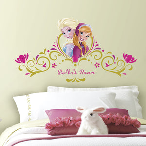 Frozen Spring Time Custom Headboard Giant Wall Stickers with Personalised Name
