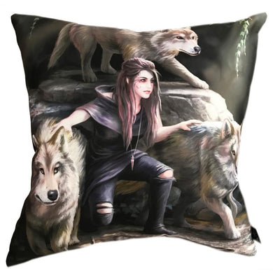 Power Of Three Silk Cushion by Anne Stokes