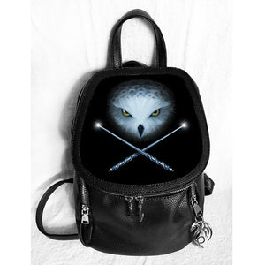 Owl And Crossed Wands 3D Lenticular Backpack by Anne Stokes