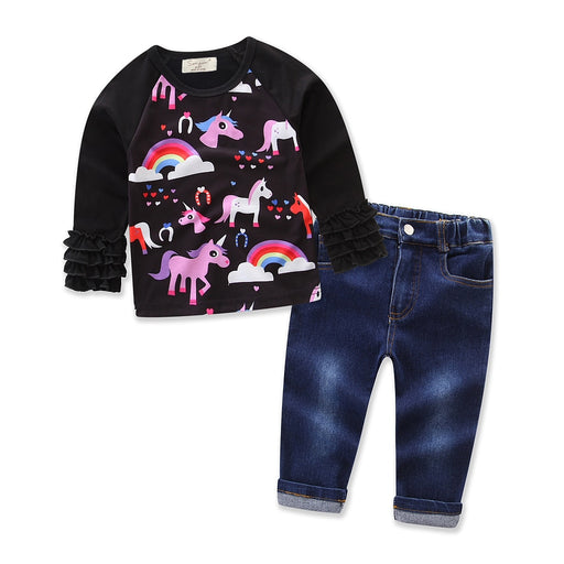 Baby Girls Unicorn Print Tees & Jeans | Halloween Dress Set