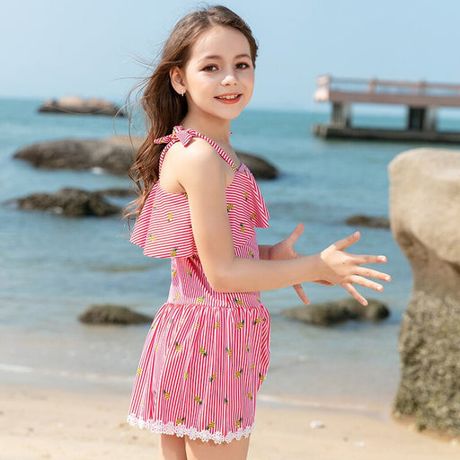 2020 Teenager Girl One Piece Swimwear Dress Pink Blue Grid Printed Children Swimming Wear 6-13 Years Bathing Suit Beach Wear