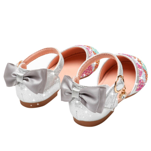 Girls glittery ankle strap, back bow knot shiny party shoes.