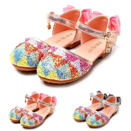 Girls multi-color glittery and sequined sandal shoes.