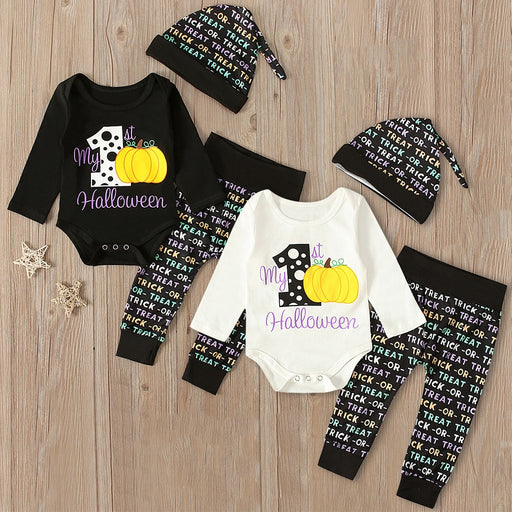 Newborn Kids Halloween Clothing | Romper+Pant+Cap Set